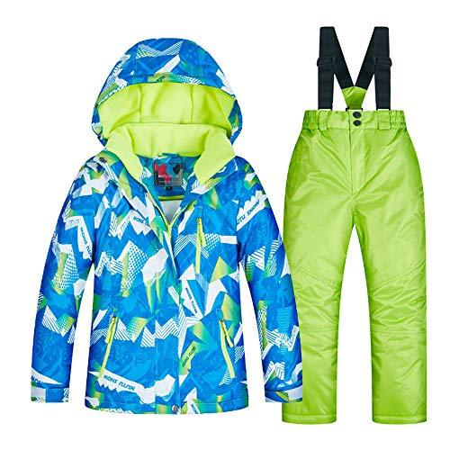 Jungen Skijacke Winter-Verdickung warme Kinderskianzug-Jungenanzug Winddicht wasserdicht Wasserdichte Winterjacke für Kinder (Farbe : C1+Green Pants, Größe : 14 Yards) - Für Mädchen-größe Ski-jacken 14