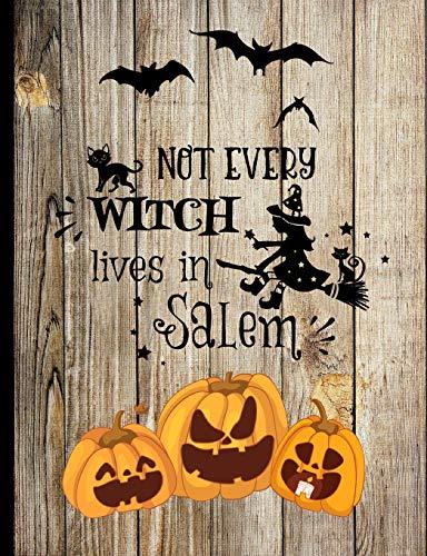 Not Every Witch Lives In Salem: Black Cat Witch Broom Jack O Lantern Vintage Wooden fence Halloween Inspired Autumn Fall Journal (O Jack Lantern Halloween-legende)