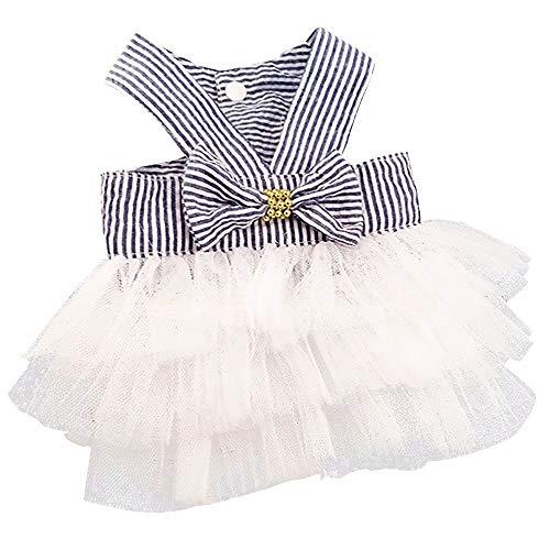 YWLINK Prinzessin Kleider Vokuhila Sommer Party Abendkleid Hochzeit Elegant Sling Kleid Streifen Spitzen Patchwork Kleid Hundekleid Bogen Tutu(Marine,M)