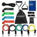 TOMSHOO Fitness Tubo de Resistencia Bandas Elásticas Juego de 17 Tonificador para Entrenamiento Fisioterapia Yoga Pilates un Completo Gimnasio en Casa