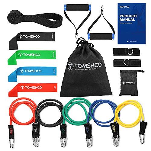 TOMSHOO 14Pcs/17Pcs Kit Fitness-Bande Elastique de Résistance Bandes de Fitness Poignées en Mousse...
