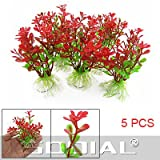 TOOGOO(R) 5 Stueck Rot Gruen Kunststoff Pflanzen Decor mit Keramik Basis fuer Fischtank Aquarium