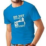 Männer T-Shirt Bier Aufladung - Alkohol Hemden, Büro Kleidung, für Party (XX-Large Blau Weiß)