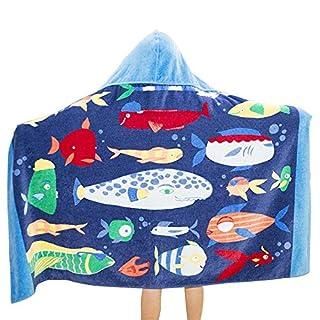 Badetuch für Kind, ANGTUO 100% Baumwolle mit Kapuze Bademantel Bademantel Mantel Strand Badetuch für Jungen und Mädchen