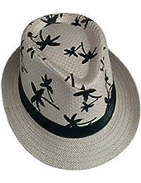 toyobuy Mujer Hombre Paja Fedora Gánster Sombrero Decoración Árboles impresión Sunhat