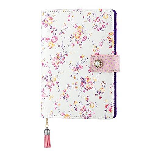 Zhi Jin A5Floral Notizbuch Tagebuch nachfüllbar, gebundenen Binder Tagebuch Liniert Papier mit Pearl Snap Button Büro Schule Reisen Geschenk - Pearl Snaps