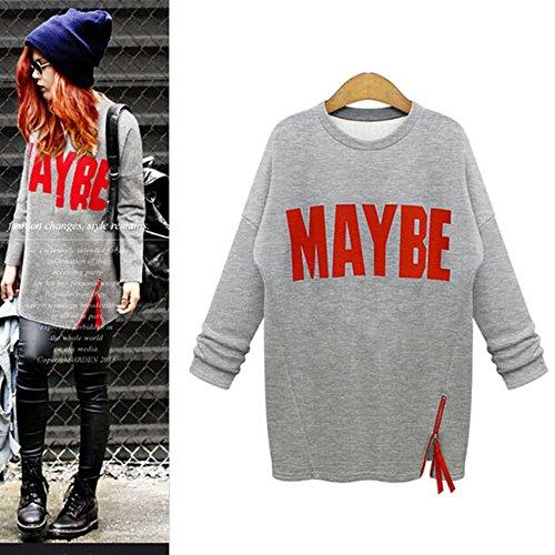Maxquoia Sweat-shirt femme longue manche col ronde imprimé alphabet avec zippée pull Gris