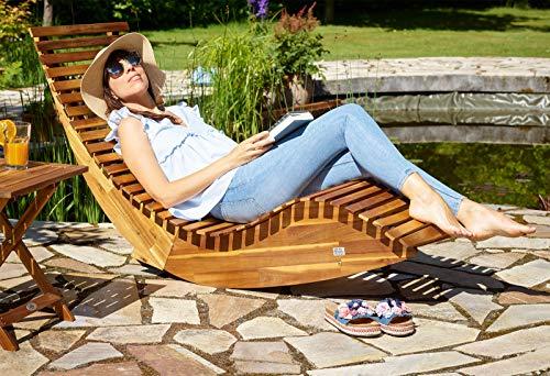 Deuba Schwungliege | FSC®-zertifiziertes Akazienholz | Ergonomisch | Vormontierte Latten | Wippfunktion | Gartenliege Sonnenliege Relaxliege Saunaliege - 2