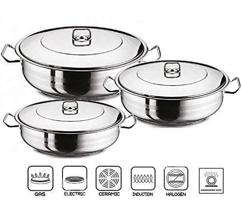 GASTRO Premium Shallow Casserole Pot With Lid Stainless Steel Pan Induction Base (28 x 8 cm)