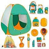 deAO FUDAER Gioco di Sopravvivenza Campeggio per Bambini Set d'Imitazione Include Tenda da Campeggio Pop-Up, Lanterna, Fornelli da Campeggio e Accessori attività Ricreative al Coperto e all'Aperto