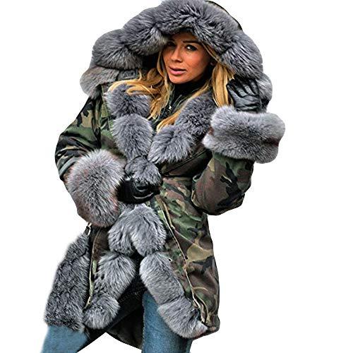 JURTEE Damen Winter Mäntel,Winterjacke Warm Kaschmir Faux Pelz Jacke Parka Mit Kapuze Mantel Fischschwanz Langarm Outwear Outdoorjacke Windjacke (Large, Grau ()
