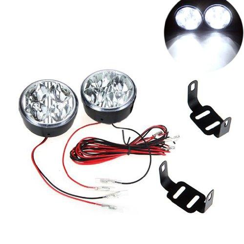 SODIAL(R) 2pcs universal 12V blanco 4 LED diurna redonda de la luz corriente DRL del coche de niebla Dia de la lampara de