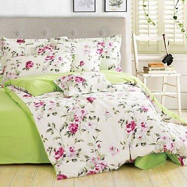 AIURLIFE Impresión de la tela cruzada del algodón cuatro camas paquete completo inicio/King/Queen size , full