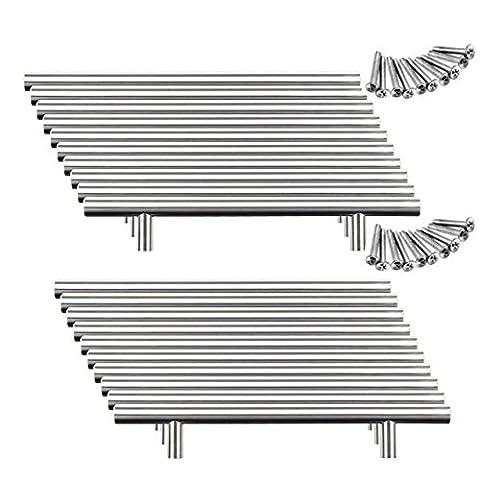 Yorbay 20x 64mm Bohrlochabst gebürstet Edelstahl Möbelgriffe Stangengriff Relinggriffe Edelstahlrohr Ø 10 mm