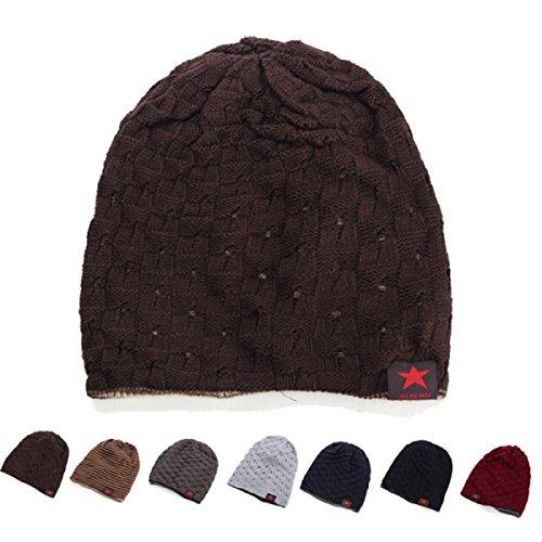 Alamor Unisex Winter Warm Skull Knit Beanie Cap Dual Wearable Männer Frauen Reiten Ski Hut-Kaffee -