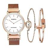 MAMONA Damen Uhr Analog Quarz mit Rosa/Gold Edelstahl Armband Uhrenset 3881LRGT