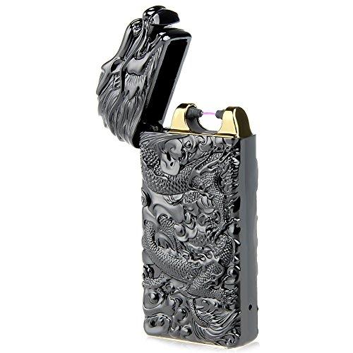 Kivors® Elektronisches Drache Feuerzeug Tragbar USB Aufladbar Single Lichtbogen