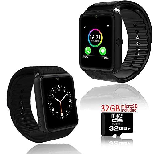 Indigi® GT8Wireless Bluetooth Armbanduhr Telefon entsperrt. Gratis 32GB microSD (Entsperrt Micro Sd Handy)