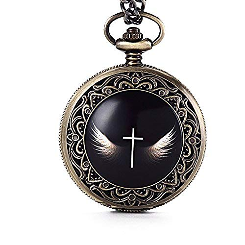 Vintage God's Angel Wings Cross Pocket Watch Analog Quartz Fob Chain Unisex Clock