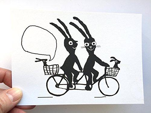Hasenfamilie Postkarte Tandem Famile Karte Geburt zweites Kind Zwillinge Glückwunschkarte Fahrradfahrer Ostern