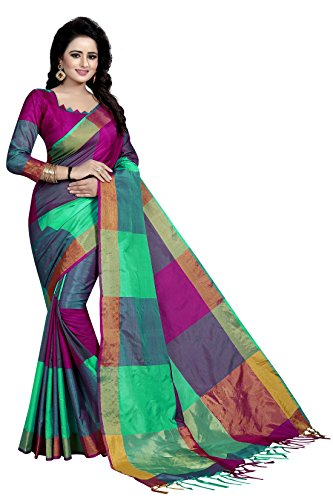 J B Fashion Women's Cotton Saree With Blouse Piece (Multicolor , Free...