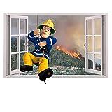 Feuerwehrmann Sam 3D Fenster Kinder Wandaufkleber Wandüber Wall Art Wand Tattoo Customise4U™ (3d fireman sam window 70cm)
