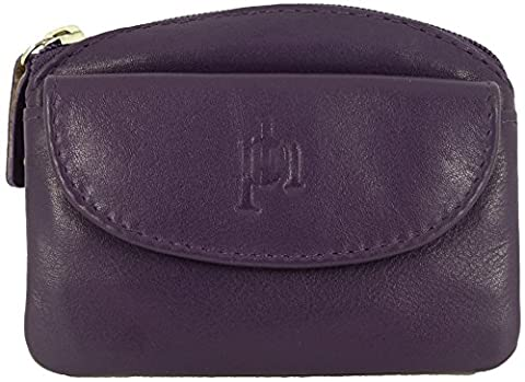 Fine Leather Small Zipped Coin Card Key Purse with Front Flap (Purple)
