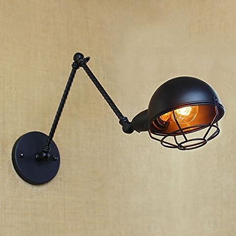 XUE einstellbare Vintage Wand Sconce 8 Zoll breite schwarze Finish Simplicity Lampe