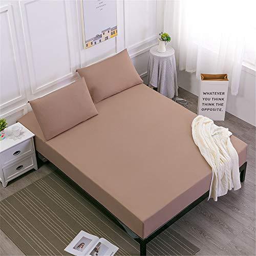 WFDDSD Weiche blätter Bett schoner Bezug mit Nässeschutz,Einteiliges staubdichtes Bettset, Kamel 100X200cmX25