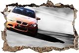 Pixxprint 3D_WD_S4647_62x42 prächtiger sportlicher BMW Wanddurchbruch 3D Wandtattoo, Vinyl, schwarz/weiß, 62 x 42 x 0,02 cm