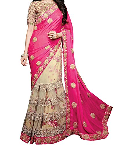 Sareeshop Georgette & Net Saree (Apsarapink-Pink Saree_Pink & Cream)