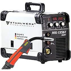 STAHLWERK MIG 135 ST IGBT - MIG MAG Machine à souder au gaz inerte avec 135 A, fil fourré FLUX, avec soudage manuel MMA, blanche, garantie de 5 ans