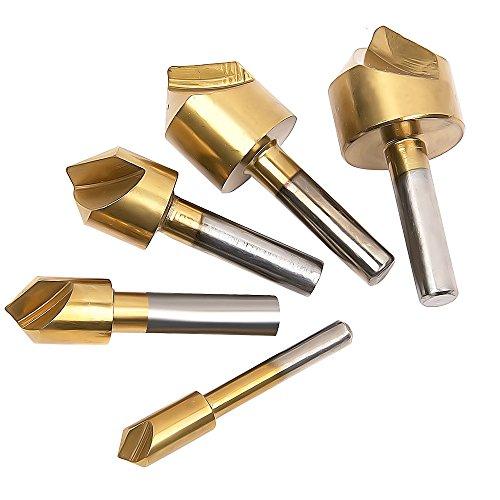 JTDEAL 90° HSS Anfasen Bohrkopf, Senkkopfbohrer, Hole Punch, Senkbohrung Satz Senkbohrer Set, Kegelsenker für Weich- und Hartholz, Kunststoffe, 5 Stück