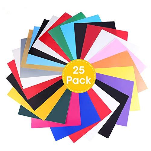 ARTISTORE PU Heat Transfer Vinyl, Wärmeübertragung Vinyl X 25 Pcs 16 Farben, Textilfolien Transferpapier für DIY T-Shirt, Cricut, Cameo 30x25cm