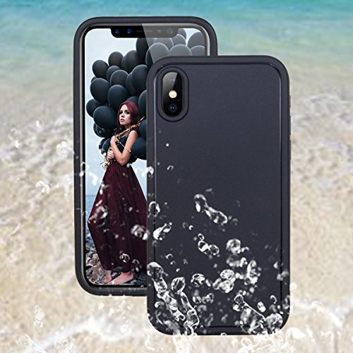 Custodia impermeabile iPhone X,iPhone X Waterproof Case, Casetego Super Slim Thin Light [360 All Round Protective] Full-Sealed IPX-6 Waterproof Shockproof Dustproof Snowproof Case Cover for Apple iPho Black