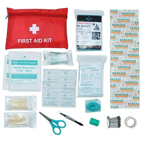 Mini First Aid Kit, 92 Pieces Small First Aid Kit – Includes Emergency Foil Blanket, Scissors for...