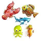 Sharlity Luftballons für Kindergeburtstag, Motiv: Meerpferd, Ballon, Tintenballon, Haifischballon, Tropische Fische Luftballons, 5 Stück