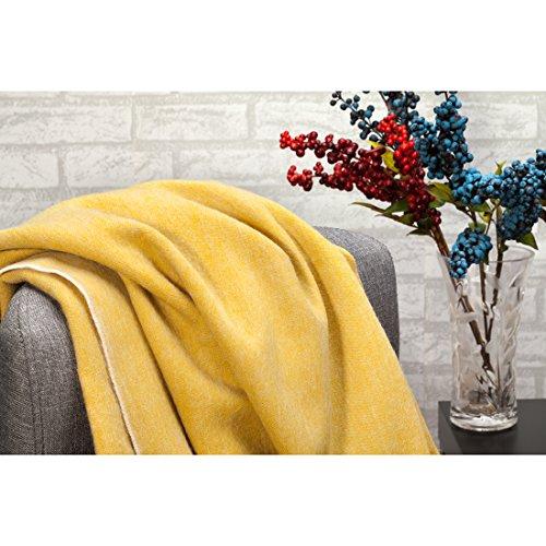 Spencer & WHITNEY Super Weiches Licht Decke, australische Wolle Decke 100Wolle Vier mit groß werfen Decke Licht und Atmungsaktivität, gelb, 150*200CM+2*10CM(Fringe)/59*79IN+2*4IN(Fringe) (Queen Pendleton-decke)