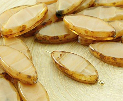 6pcs Picasso Brun pierre de Lune clair de Lune à la Crème d'Opale Ovale et Plate de Pétales de Table à la Fenêtre de Coupe tchèque Perles de Verre 18mm x 7mm