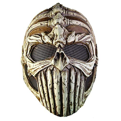 YaPin Halloween Karneval Ball Party Performance Maske geformt Knochen Skelett Harz Maske braun
