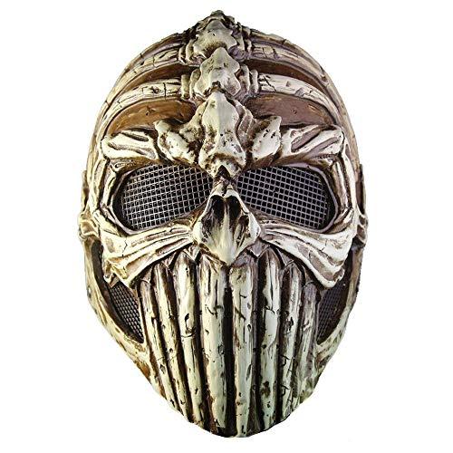 YaPin Halloween Karneval Ball Party Performance Maske geformt Knochen Skelett Harz Maske braun (Skelett Makeup-tipps Halloween)