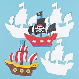 Baker Ross Lot de 10 bateaux en carton pirates à personnaliser- Idéal pour les ateliers créatifs en classe