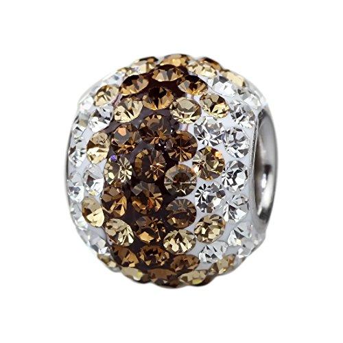 Beads Hunter Charm Perle Cristal Autrichien Gradient émail et argent sterling 925compatible Bracelet Pandora Style et similaires 3mm Browns