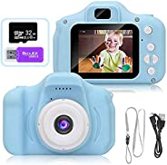 AMERTEER Kids Toy Digital Camera with [ 32 GB Memory Card and Card Reader ] Gifts for Child Boys Girls,Mini Rechargeable Chi