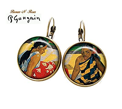 Boucles d'oreilles tableau paul gauguin * femmes de tahiti * cabochon bronze dormeuses