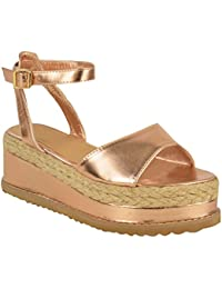 afe52a09fc49d Fashion Thirsty New Womens Ladies Chunky Espadrille Strappy Sandals  Flatform Wedge Shoes Size