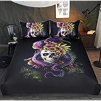 WFH Aliens Muster Heimtextilien Bettwäsche Sets Von 3,3 Stück Reversible Polyester Bettbezug Set Enthält 1X Bettbezug - 2X Kissenbezug,King264cmx228cm