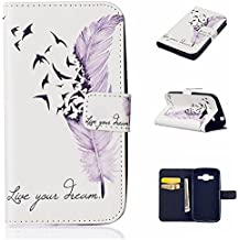 """AAABest Premium PU Ultra Slim Flip PU Leather Wallet Case [Card Holder] [Magnetic Closure] STAND Cover Bulit in Card Slots for Samsung Galaxy Core Prime SM-G360/G361 4.5"""" -[Color Live your dream Design]"""