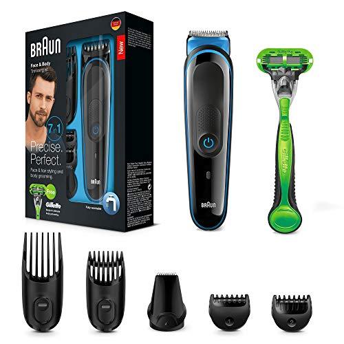 Braun MGK3042 7-in1 Multi-Grooming-Kit, Barttrimmer und Haarschneider, schwarz/blau
