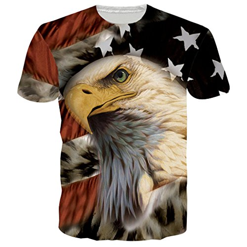 Leapparel Unisex Amerikanische Flagge Eagle Druck Grafik-kühle T-Shirts Oberseiten XXL (1 Sport-grafik-t-stücke)